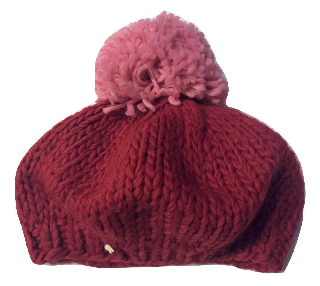 Kate Spade New York Handknit Colorblock Pompom Beret Hat