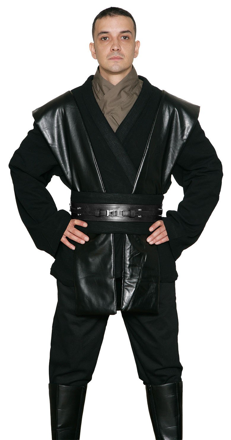 Jedi-Robe - Men's Replica Costume Tunic Set and Robe X-Large Black - Compatible with Anakin Skywalker Costume