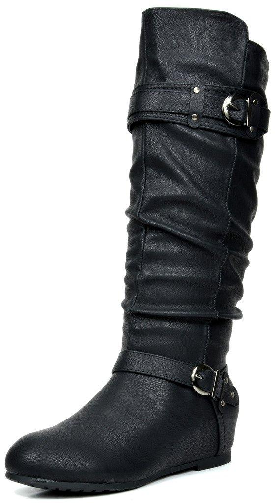DREAM PAIRS Women's JOIES Black Knee High Low Hidden Wedge Boots Wide Calf Size 8 M US