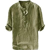 Gtealife Mens Linen Henley Shirt Casual 3/4 Sleeve T Shirt Pullover Tees V Neck Curved Hem Cotton Shirts Beach Tops