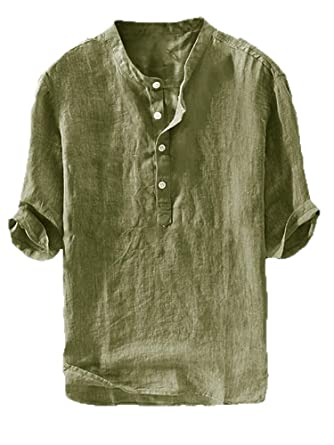 8cc750446624c Mens Linen Henley Shirt Casual 3/4 Sleeve T Shirt Pullover Tees V Neck  Curved
