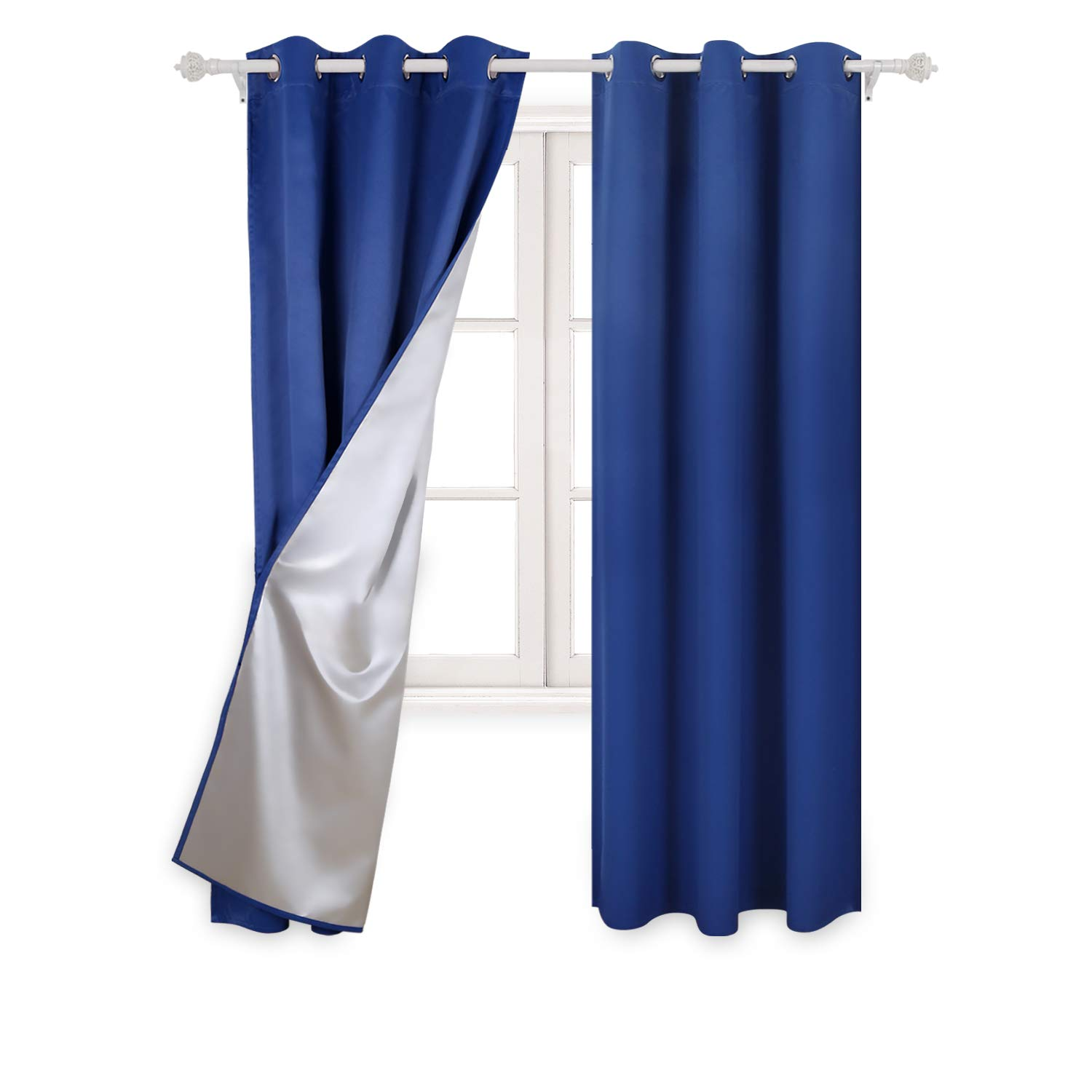 Deconovo Decorative Blackout Curtains with Silver Backing Room Darkening Shades for Boys Room 42W x 84L inch Royal Blue 2 Panels