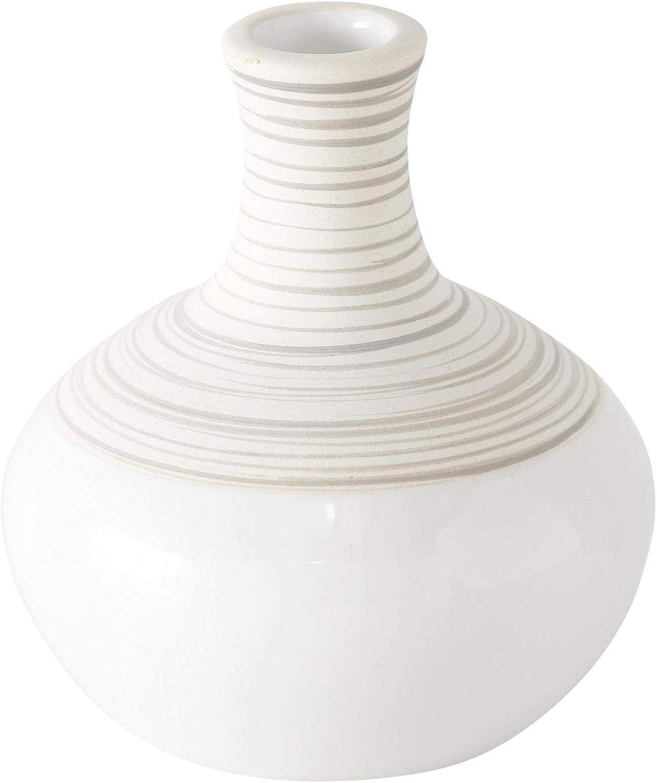 CasaJame 3 color blanco Jarrones decorativos gres, 10 cm