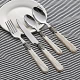 16 10 stainless flatware - White Dinnerware Sets Cutlery Flatware - LANPA LPCJ002-4 (2018 New Design) 18/10 Stainless Steel Royal Pearl Handle Flatware Set For 16 Pieces, 4Knives, 4Forks, 4Tablespoons, 4Teaspoons,Set For 4