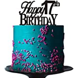 Happy 17th Birthday Cake Topper For Party Decorations Black Acrylic