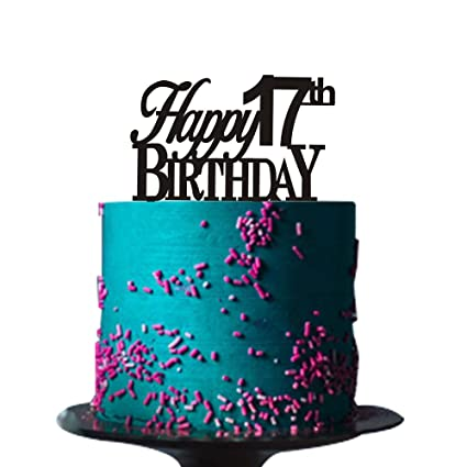 Amazon Happy 17th Birthday Cake Topper For Party Decorations Black Acrylic Kitchen Dining