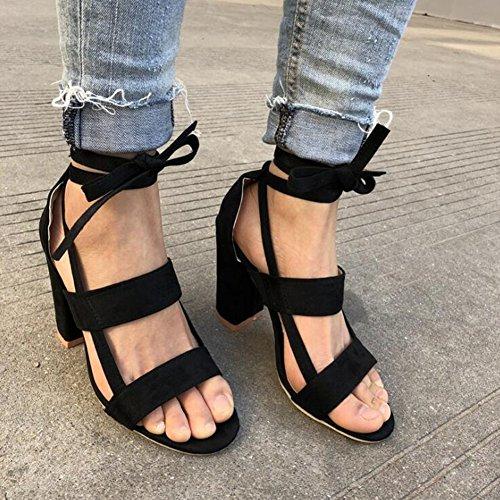 Talons Les Lacent La Ouvert Cravate Haut Talon Sandales À Bout Chaussures Haut Cheville De Dames D'été Femmes Sandales Noir Envelopper Juleya CrwzgnZCX