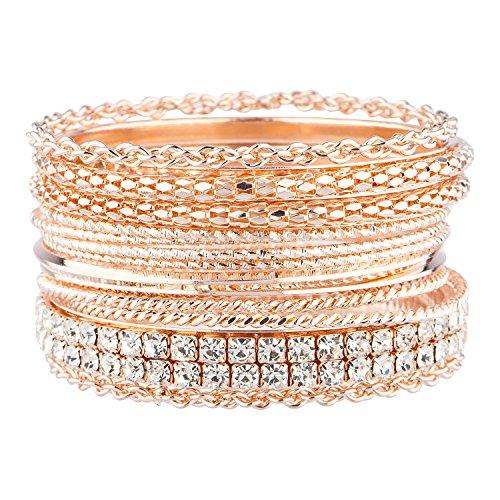 Lux Accessories Rose Goldtone Mesh Chain Faux Rhinestone Bangle Bracelet Set 13P