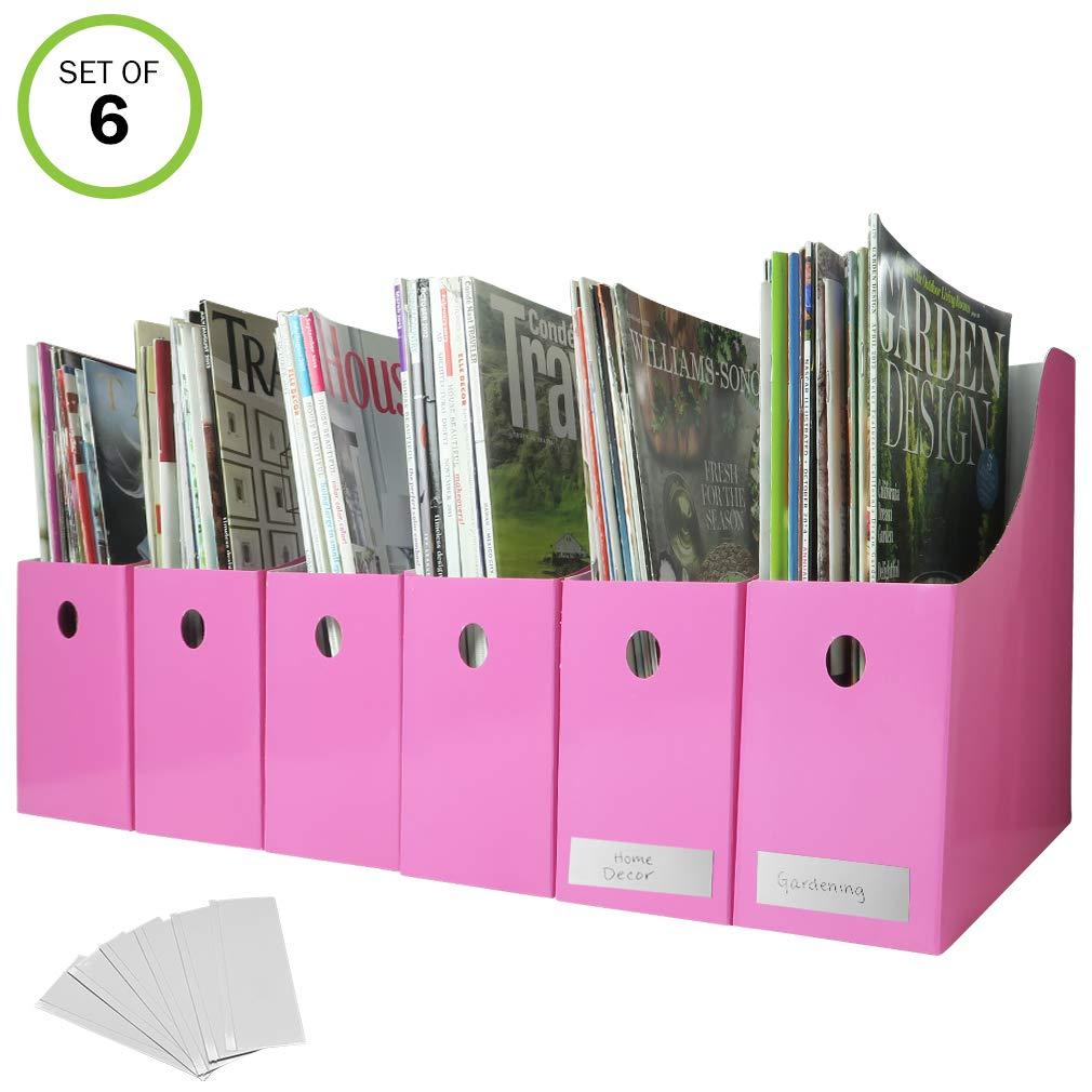 Evelots Lot of 6 Magazine/File Holders Bin Desk Organizer Kitchen Organizer 3102-E
