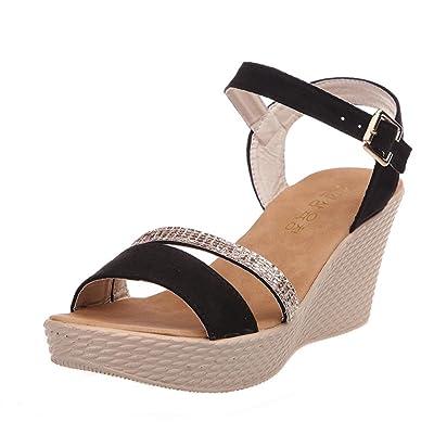 c3055b04e78c1e Angelof Sandales Femmes, Sandales à Talons Femme Ete Chaussure SoiréE  Sandales CompenséEs à Noues Chevilles