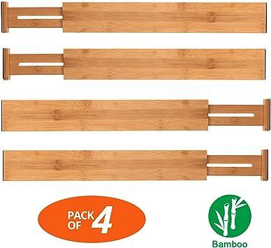 Set Of 2 Lipper International 8897 Bamboo Wood Custom Fit Adjustable Deep Kitchen Drawer Dividers Drawer Organizers Home Kitchen