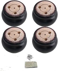 Mysummer 4PCS Round Furniture Black Bun Feet Replacement for Armchair Couch Sofa Cabinet Chair Loveseat Ottoman Dresser Legs … (Black)