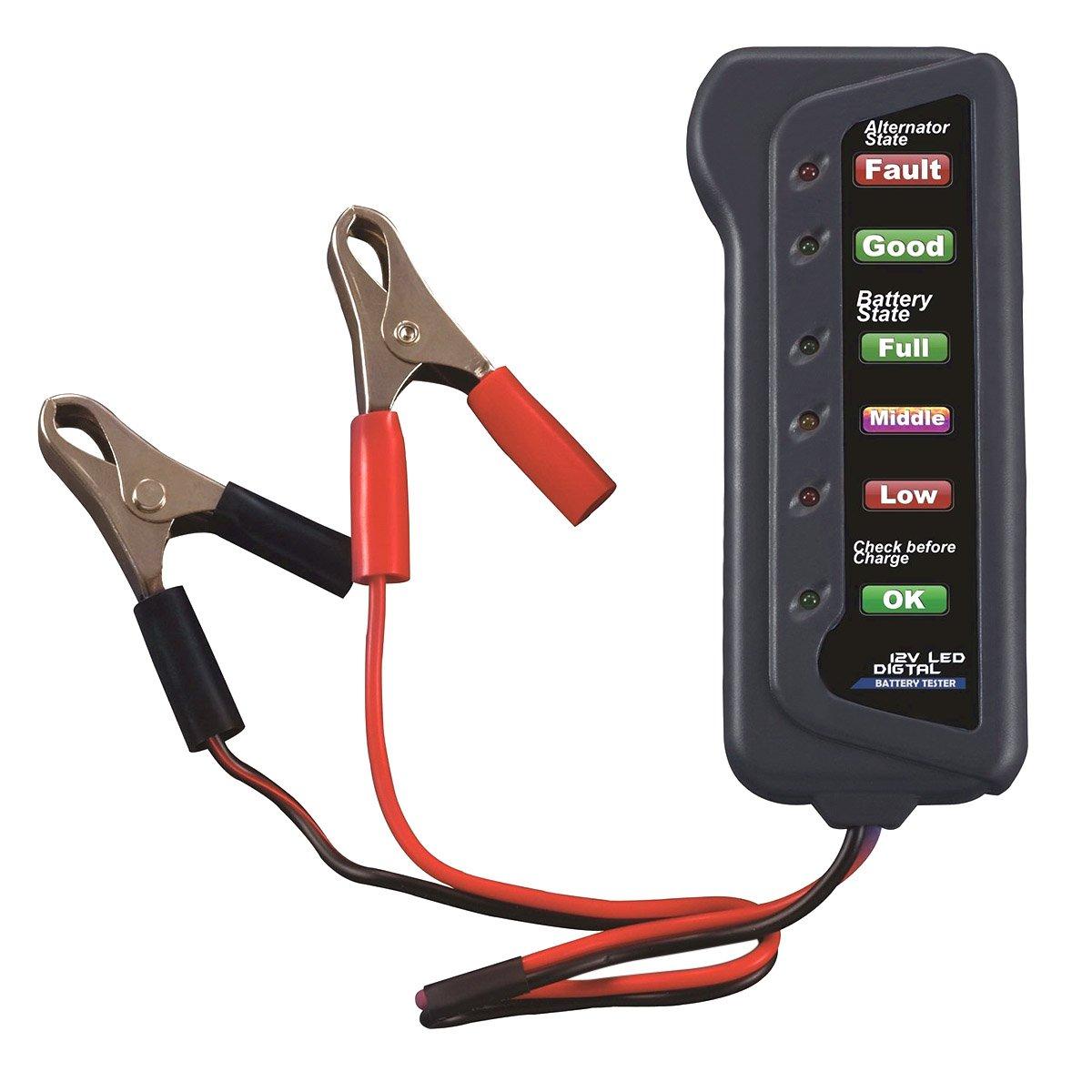 WINOMO 12 V Auto nuova generatore di corrente alternata tester –  test batterie Condizione Alternatore caricatore per auto motivi Indicatore del motociclo (6 LED)