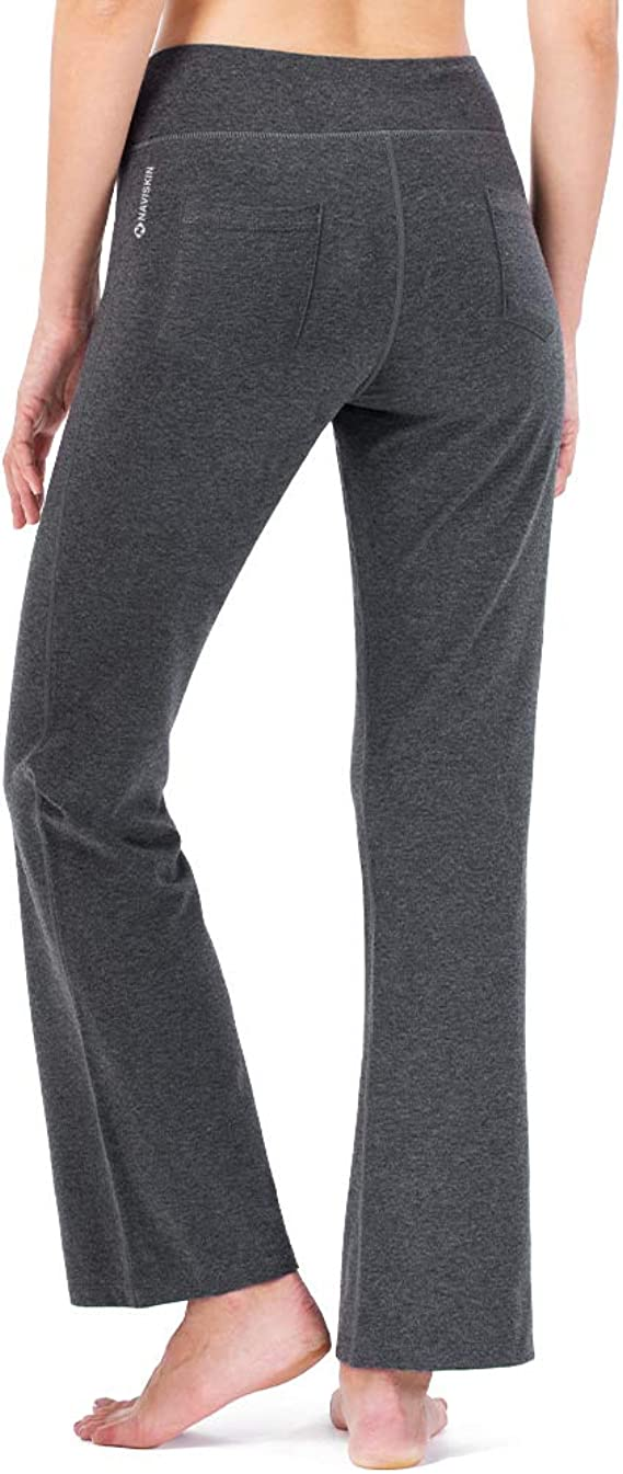 Naviskin Womens Bootcut Yoga Pants Bootleg Pants Back Pockets Petite Regular Tall Length 29 31 35 Inseam