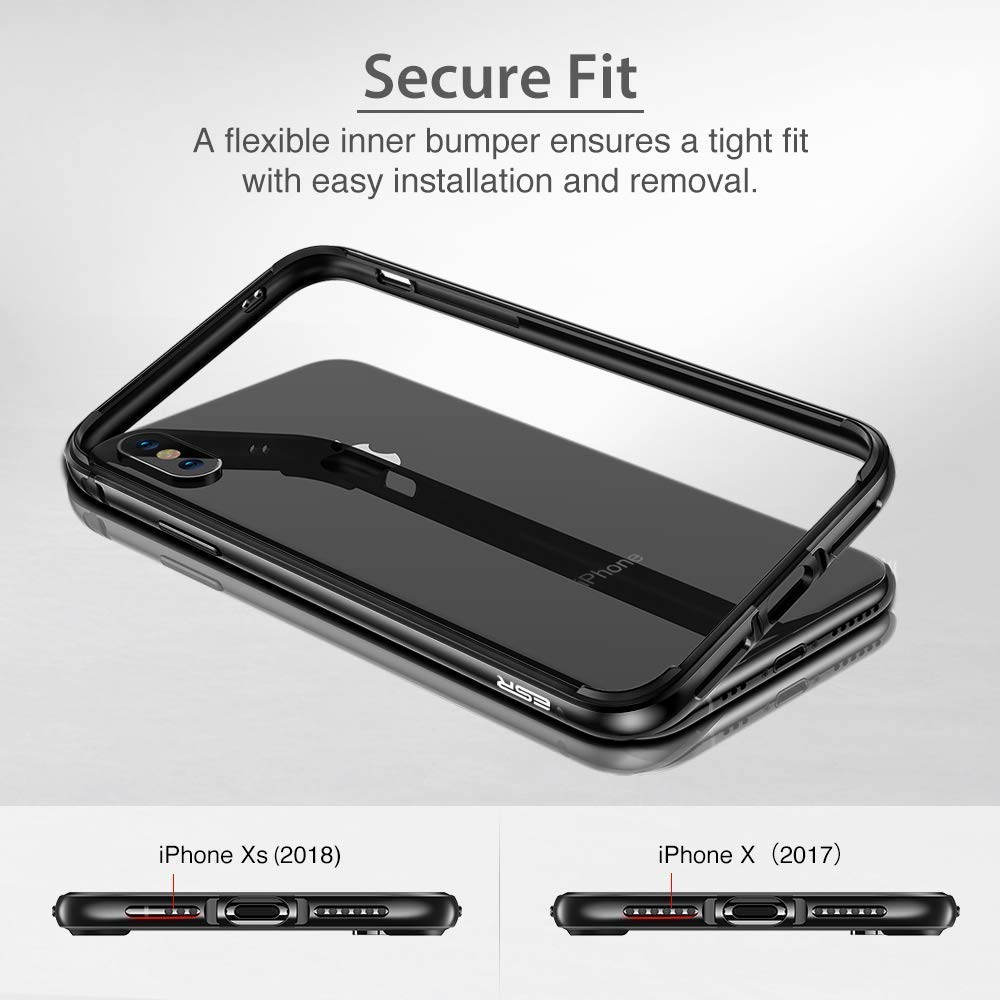 94adb2fb939 iPhone X Bumper Case, ESR Metal iPhone Frame Armor with Soft Inner Bumper[No  Signal Blocking][Raised Edge Protection] for iPhone X(Space Grey): ...