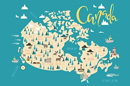 Amazon com: Illustrated Map of Canadian Provinces Quebec