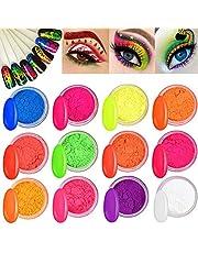 Kalolary 12 dozen neon kleur nagel poeder pigment nagel poeder, kleurrijke fluorescerende poeder acryl nail art gradiëntpoeders regenboog nagel glitter voor DIY nagel decoratie