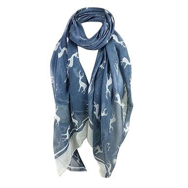Écharpe foulard châle HUHU833 Femmes mode impression wapiti longue écharpe  châle Automne Hiver (Bleu) 9fa2ac37a7c