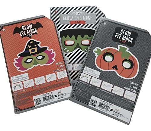 3 Halloween Glow Stick Mask Bundle - Witch Mask, Pumpkin Mask, Frankenstein Mask ()