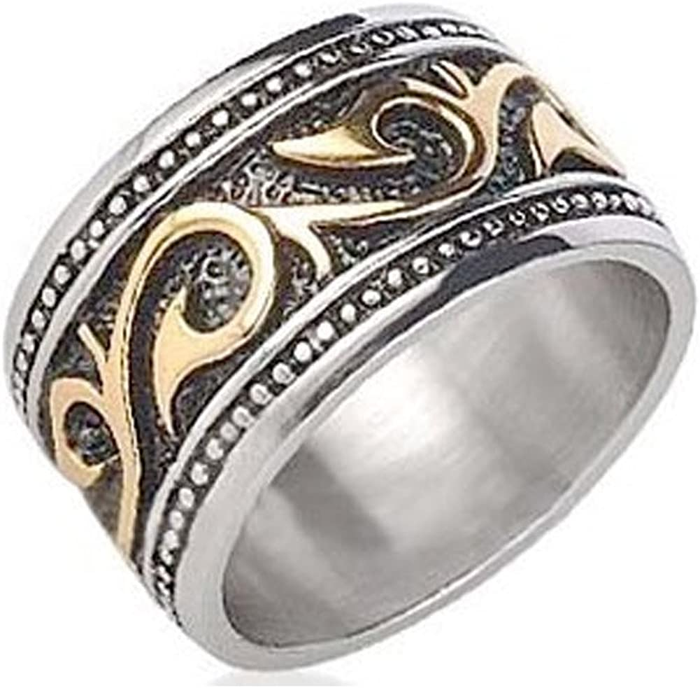 This is a photo of Tribal Ring For Men - Stainless Steel Ring with 34K Gold IP - Rings for Men - (34mm). Celtic Irish Steel wedding band, wedding ring or Anniversary