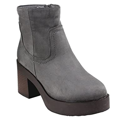 FM46 Women's Platform Side Zip Ankle High Top Stacked Block Heel Booties