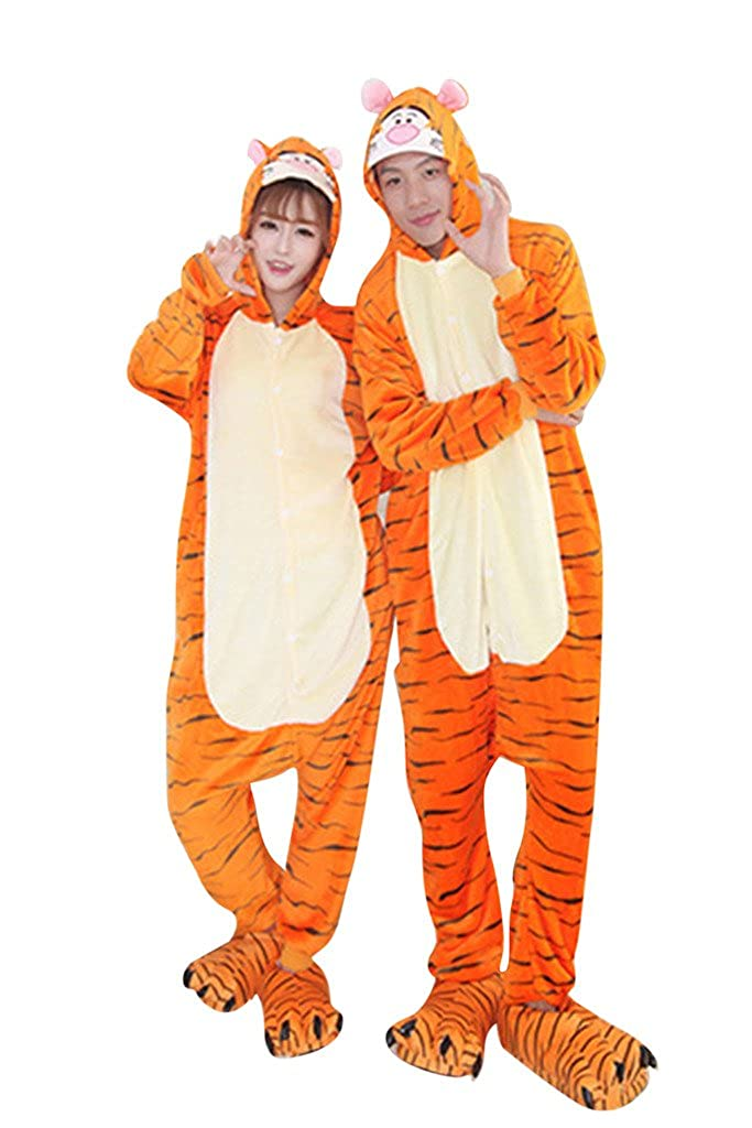 FloYoung Unisex Cartoon Sleepwear Tigger Cosplay Costumes Onesie Pajamas Flannel FY-Sleepwear28