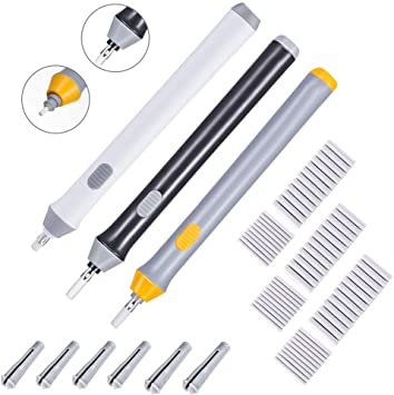Art Pencils 3 Colors Electric Eraser Kit Battery Operated Eraser Automatic Pencil Eraser with 66pcs Additional Replaceable Rubbers for Artists Painting Drawing Hillento 3 Set Electric Eraser