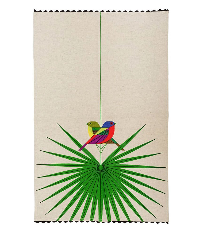 Charley Harper Flamboyant Feathers Dishtowel by Todd Oldham