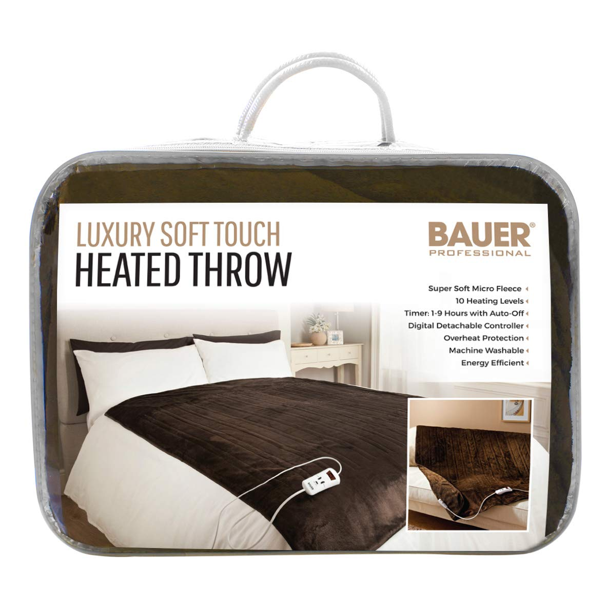5c6b77ec6d1c Bauer Super Soft Touch Luxury Heated Sofa Blanket, Chocolate Brown  120x160cm: Amazon.co.uk: Health & Personal Care
