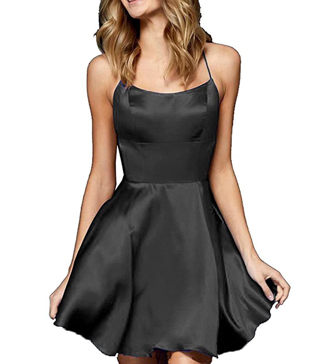 Blacka JQLD Elegant Satin V Neck Backless Short Homecoming Prom Dresses Graduation Girls