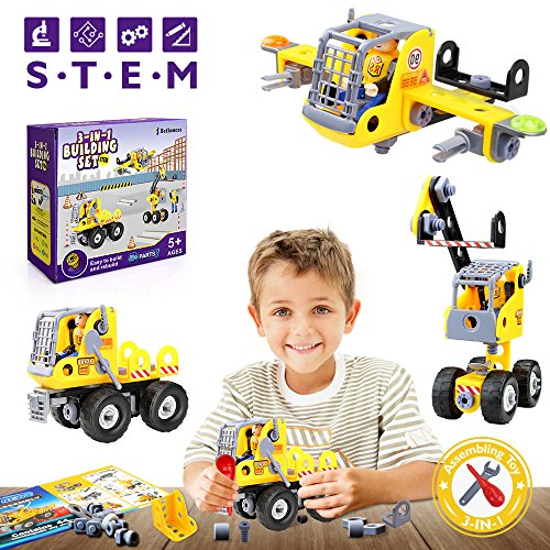 Betheaces Building Blocks Construction Stem Toys 3-in-1 Transform Truck Airplane Crane Puzzles for Kids Boys Girls Children Assembling Engineering Take Apart Gift (Childrens Sets Toys Building)