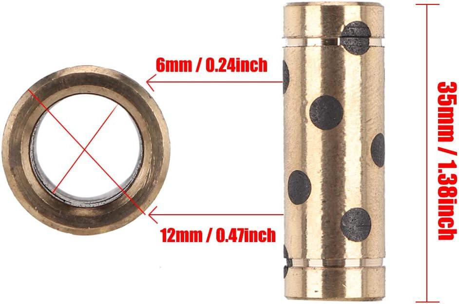 8x12x35mm roulement lin/éaire pour imprimante 4pcs 3D Manchon en cuivre Graphite adapt/é aux imprimantes 3D Ultimaker2 UM3 Diyeeni Manchons en cuivre Graphite Durable /à Utiliser