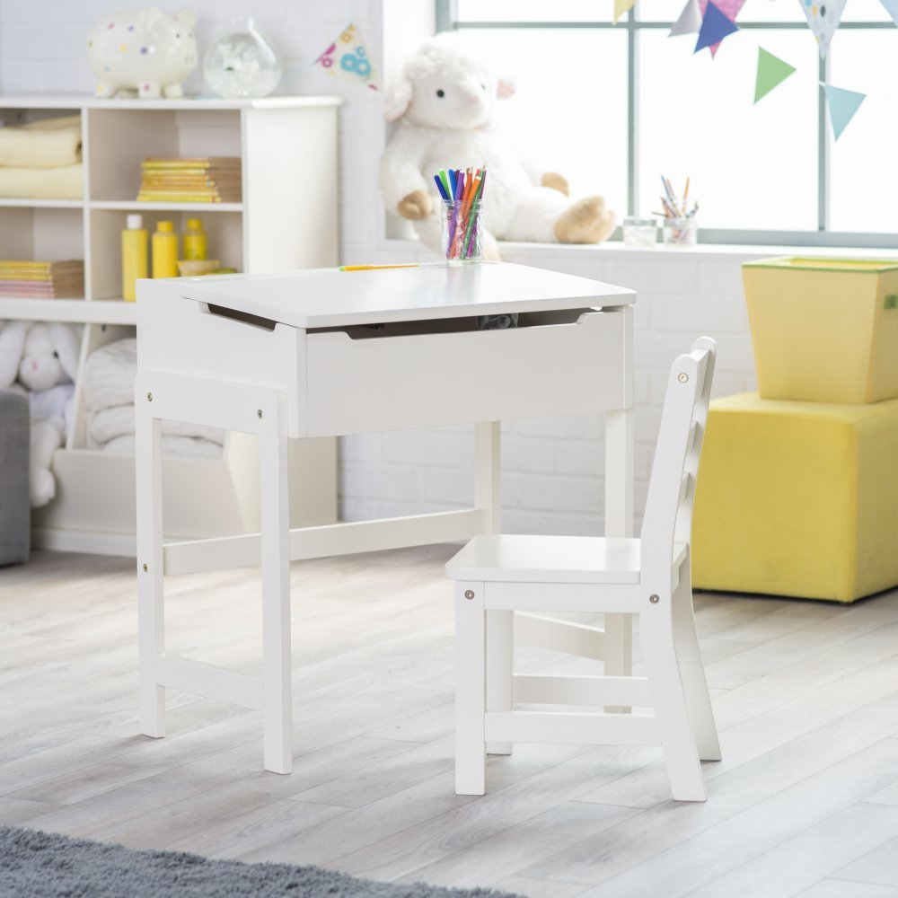 Lipper Schoolhouse Desk and Chair Set - Vanilla by Lipper International