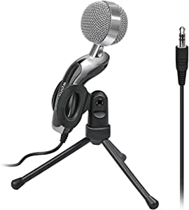 Promate Desktop Microphone, 3.5mm Professional Condenser Sound Podcast Studio Microphone with 360 Degree Rotational Stand for MacBook Pro, PC, Laptop, Computer, Tweeter-7