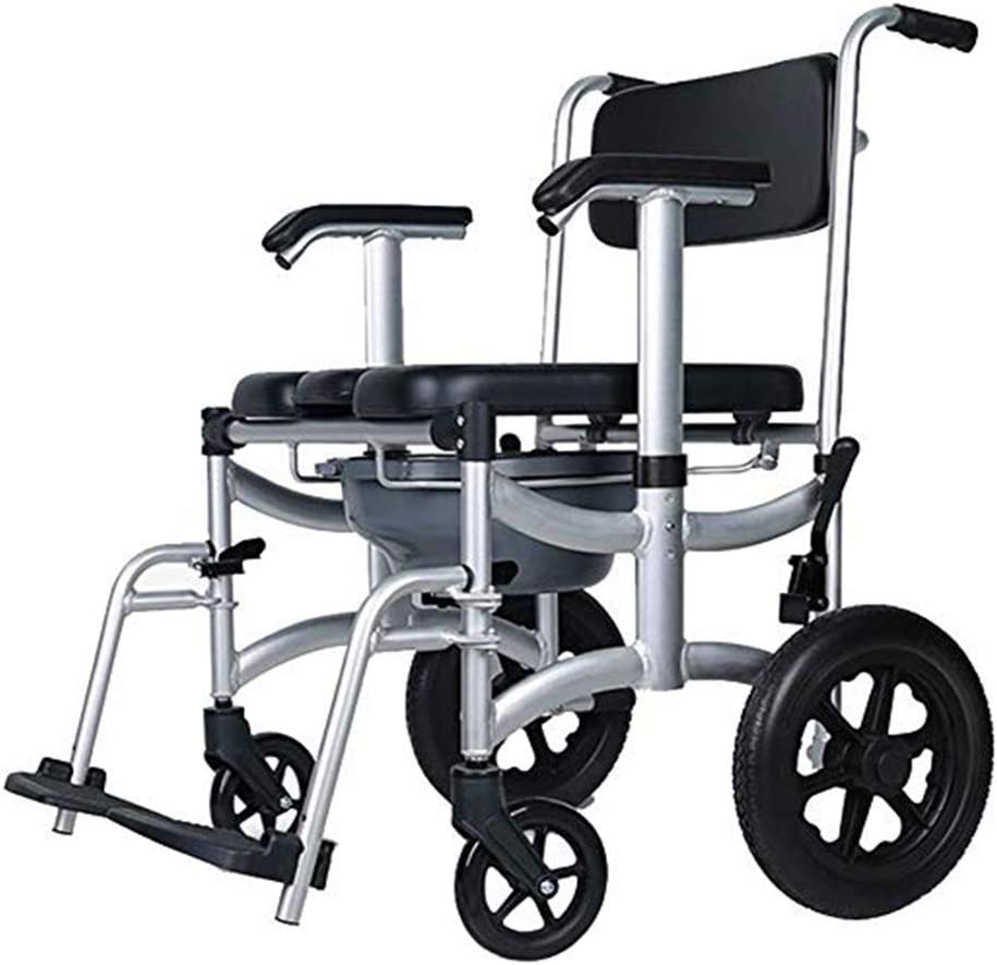 Massage-AED Silla De Ducha WC para Inodoro Rodante con Ruedas 4 Ruedas Frenos Pedal Extraíble Reposabrazos Ajustable Silla De Ducha Plegable