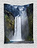 asddcdfdd Natural Waterfall Decor Tapestry, Waterfall And Grand Cliffs In Northern America Force Of Nature Art Print, Bedroom Living Room Dorm Decor, 40 W x 60 L Inches, Green Blue White