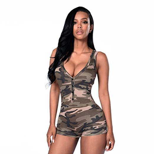 a07a49be19 Amazon.com  Sinzelimin Sexy Women One Piece Short Jumpsuit Army Green  Bodycon Camouflage Playsuits Roomper Bodysuit Catsuit  Clothing