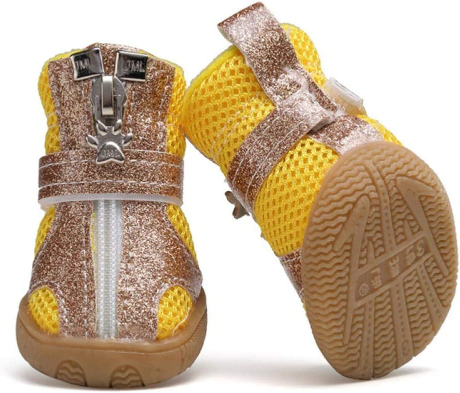 QWERASD Zapatos para Mascotas Malla Transpirable Zapatos para Perros pequeños Sandalias de Verano para Perros Botas Casuales Bichon S Amarillo
