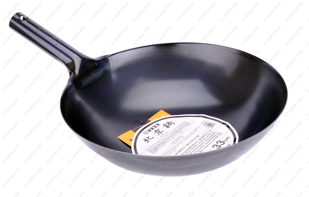 M.V. Trading JPIW36 Japanese Iron Pow Wok Heavy Duty Iron with Commercial Grade Handle, 36cm (14.17-Inches)