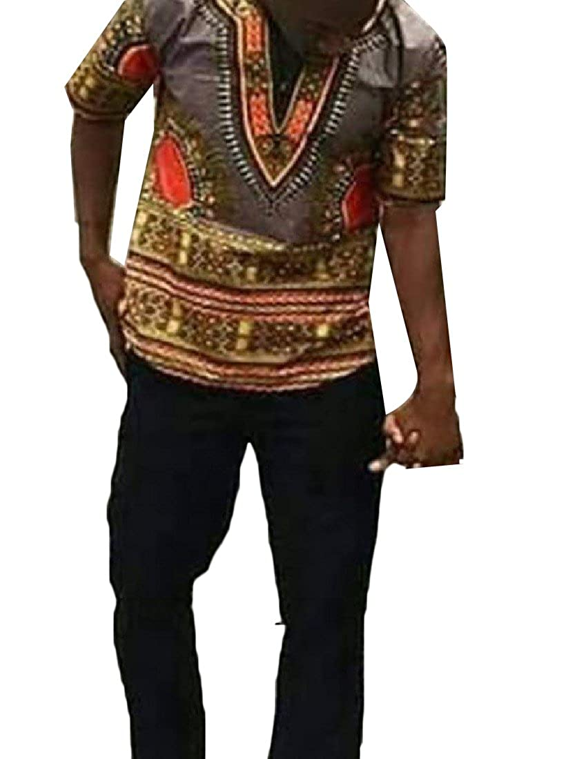 Mirror Mens Basic Fit African Dashiki Short Sleeve Print Tunic Shirts
