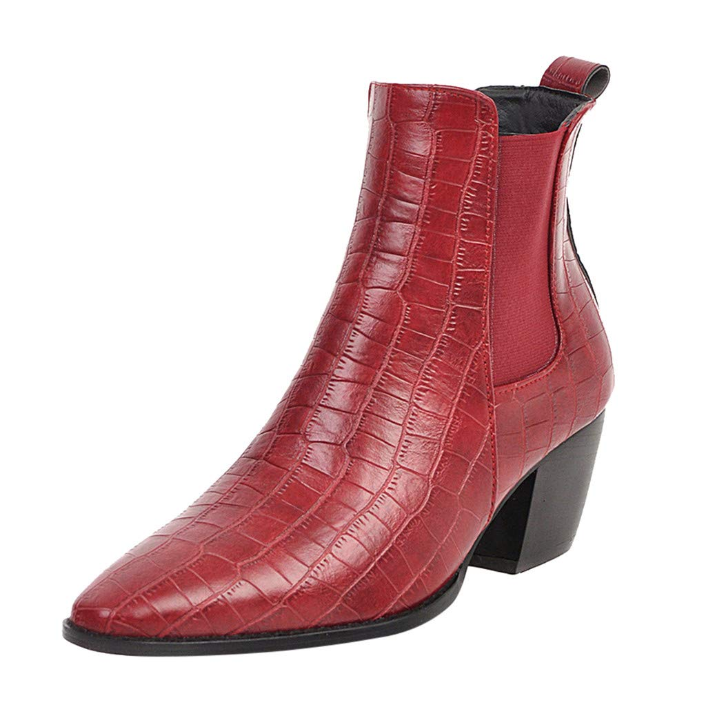 ZOMUSAR Women's Boots, Fashion Women Square Heels Slip-On Crocodile Pattern Short Pointed Toe Boots Red by ZOMUSAR