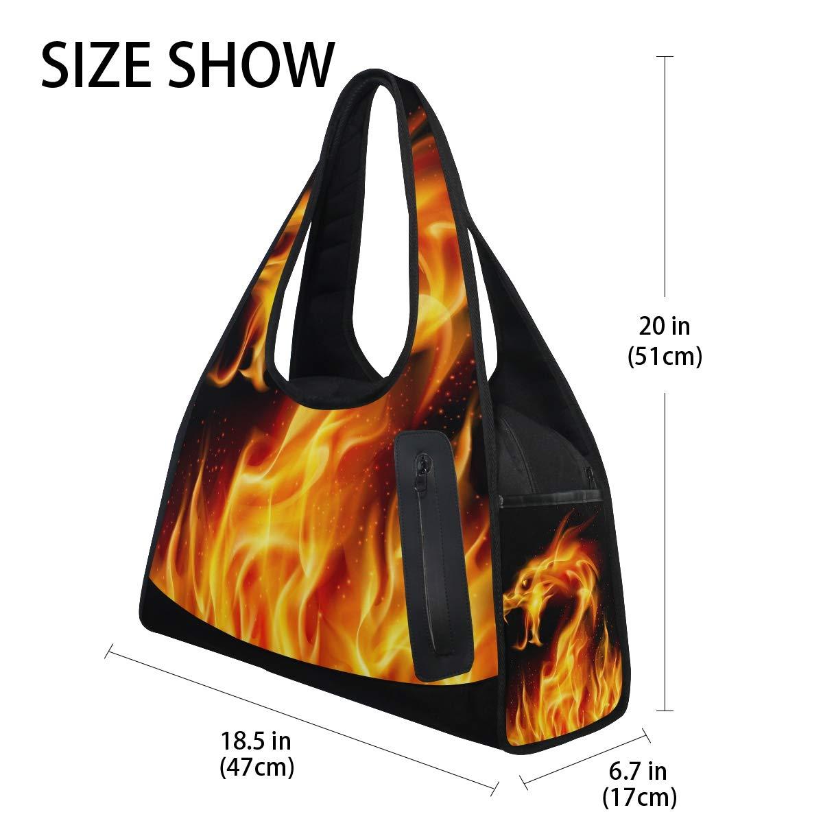 Gym Bag Sports Holdall Fire Dragon Canvas Shoulder Bag Overnight Travel Bag for Men and Women