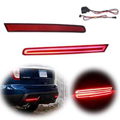 TurningMax Red Lens Bumper Reflector Rear Fog Lights for 2011 2012 2013 2014 2015 Ford Explorer: Automotive