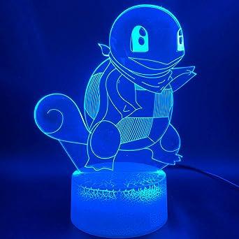 Juego de luz óptica 3d go squirtle figura oficina decoración de la ...