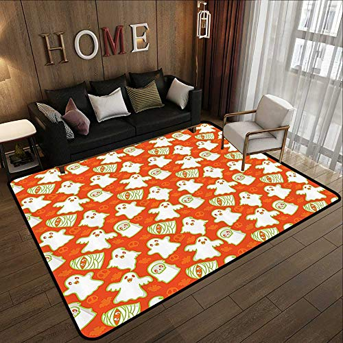Carpet Flooring,Burnt Orange Decor Collection,Funny Halloween and Demon Graphic on Skull and Bat Background Design Home,Orange White Gre 71