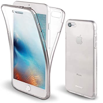 Moozy Funda 360 Grados para iPhone 7, iPhone 8 Transparente Silicona - Full Body Case Carcasa Protectora Cuerpo Completo