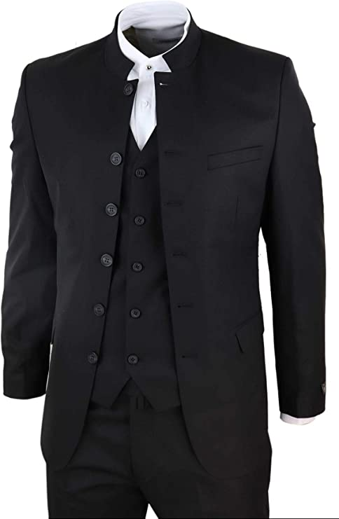 Mens 3 Piece Nehru Grandad Collar Suit Beatles Indian Tailored Fit Classic