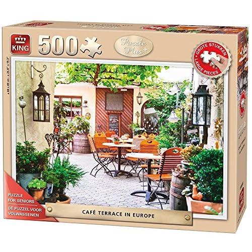 King 14051,3cm Cafe terrasse en Europe Senior puzzle pour adulte (500-large pièce)