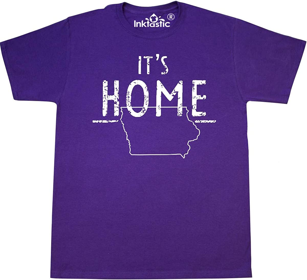 inktastic It's Home- State of Iowa Outline Distressed Text T-Shirt