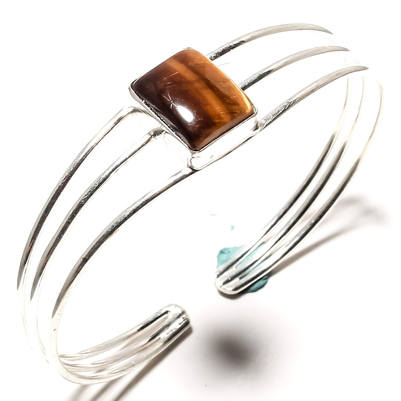 SF-1730 Adjustable Size Cuff Bracelet Stunning Tiger Eye Gemstone Bangle Kada Handmade 925 Sterling Silver Plated Jewelry